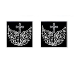 Bling Wings and Cross Square Cuff Links