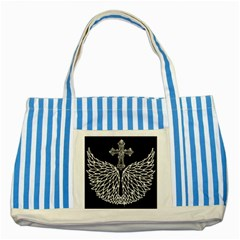 Bling Wings and Cross Blue Striped Tote Bag