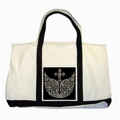 Bling Wings and Cross Two Toned Tote Bag
