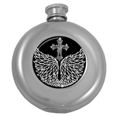 Bling Wings and Cross Hip Flask (Round)