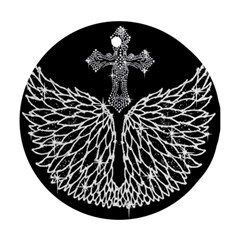 Bling Wings And Cross Twin Sided Ceramic Ornament (round)