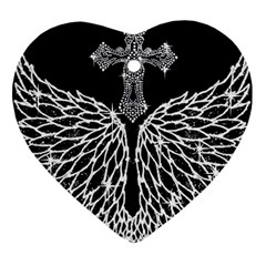 Bling Wings and Cross Heart Ornament (Two Sides)