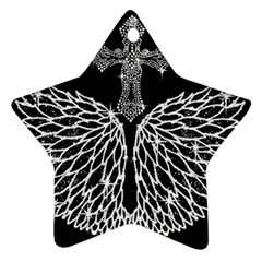 Bling Wings and Cross Twin-sided Ceramic Ornament (Star)