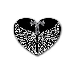 Bling Wings and Cross 4 Pack Rubber Drinks Coaster (Heart)