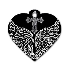 Bling Wings And Cross Single Sided Dog Tag (heart)