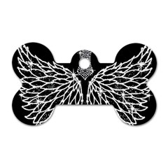Bling Wings And Cross Single Sided Dog Tag (bone)