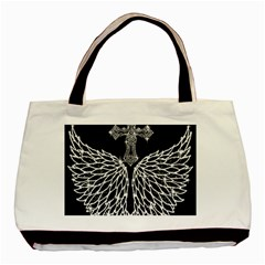 Bling Wings And Cross Twin Sided Black Tote Bag