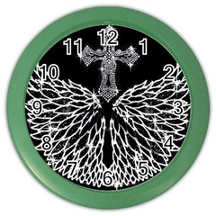 Bling Wings and Cross Colored Wall Clock