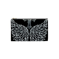 Bling Wings And Cross Small Makeup Purse