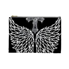 Bling Wings and Cross Large Makeup Purse