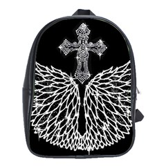 Bling Wings And Cross Large School Backpack