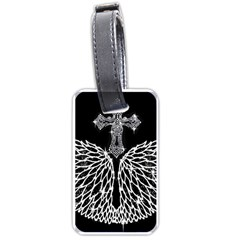 Bling Wings And Cross Twin Sided Luggage Tag