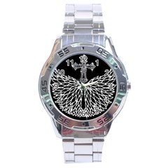 Bling Wings and Cross Stainless Steel Analogue Watch (Round)