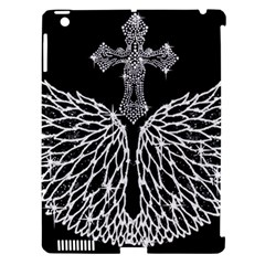 Bling Wings and Cross Apple iPad 3/4 Hardshell Case (Compatible with Smart Cover)