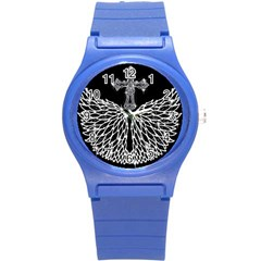 Bling Wings and Cross Round Plastic Sport Watch Small
