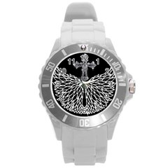 Bling Wings and Cross Round Plastic Sport Watch Large