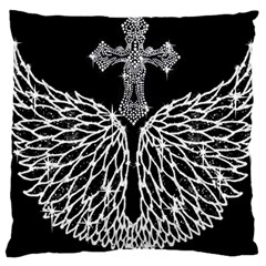 Bling Wings and Cross Large Cushion Case (One Side)
