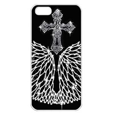 Bling Wings And Cross Apple Iphone 5 Seamless Case (white)