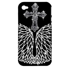 Bling Wings And Cross Apple Iphone 4/4s Hardshell Case (pc+silicone)