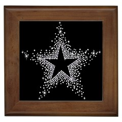 Sparkling Bling Star Cluster Framed Ceramic Tile