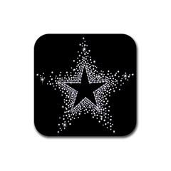 Sparkling Bling Star Cluster Rubber Drinks Coaster (Square)