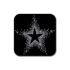 Sparkling Bling Star Cluster 4 Pack Rubber Drinks Coaster (Square)