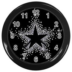 Sparkling Bling Star Cluster Black Wall Clock