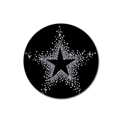 Sparkling Bling Star Cluster 4 Pack Rubber Drinks Coaster (Round)