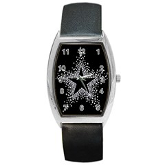 Sparkling Bling Star Cluster Black Leather Watch (Tonneau)