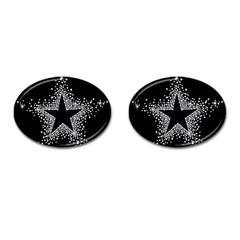 Sparkling Bling Star Cluster Oval Cuff Links