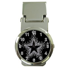 Sparkling Bling Star Cluster Chrome Money Clip with Watch