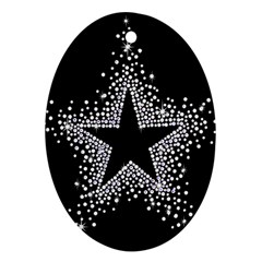 Sparkling Bling Star Cluster Oval Ornament (Two Sides)
