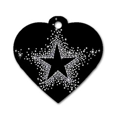 Sparkling Bling Star Cluster Single-sided Dog Tag (Heart)