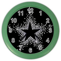 Sparkling Bling Star Cluster Colored Wall Clock