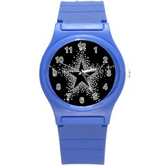 Sparkling Bling Star Cluster Round Plastic Sport Watch Small