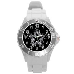 Sparkling Bling Star Cluster Round Plastic Sport Watch Large