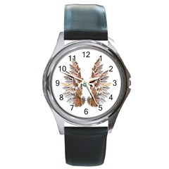 Brown Feather Wing Black Leather Watch (round)