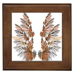 Brown Feather Wing Framed Ceramic Tile