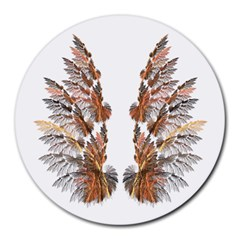 Brown Feather wing 8  Mouse Pad (Round)