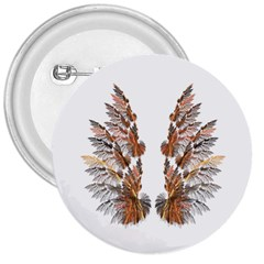 Brown Feather Wing Large Button (round)