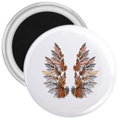 Brown Feather wing Large Magnet (Round)
