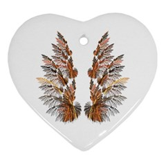 Brown Feather wing Ceramic Ornament (Heart)