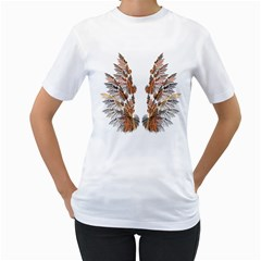 Brown Feather wing White Womens  T-shirt