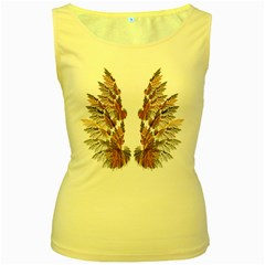 Brown Feather Wing Yellow Womens  Tank Top
