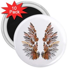 Brown Feather Wing 10 Pack Large Magnet (round)