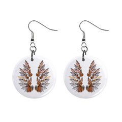 Brown Feather wing Mini Button Earrings