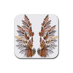 Brown Feather wing 4 Pack Rubber Drinks Coaster (Square)