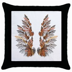 Brown Feather wing Black Throw Pillow Case