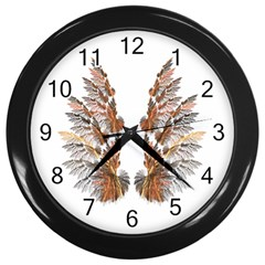 Brown Feather wing Black Wall Clock
