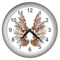 Brown Feather Wing Silver Wall Clock